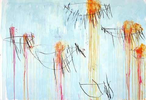 Cy Twombly, Lepanto (Part II), 2001 Acrylic, wax crayon, and pencil on canvas, 85 ½ × 123 inches (217.2 × 312.4 cm)© Cy Twombly Foundation