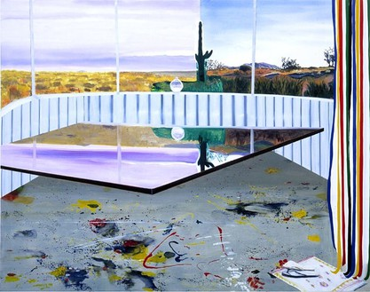 Dexter Dalwood, Captain Beefheart's Desert Trailer, 2001 Acrylic and oil on canvas, 86 × 108 ¼ inches (218.4 × 275 cm)
