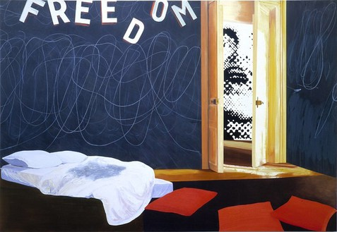 Dexter Dalwood, Situationist Apartment May '68, 2001 Acrylic and oil on canvas, 97 × 134 ½ inches (246.4 × 355.6 cm)
