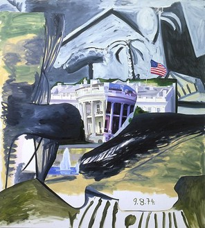Dexter Dalwood, Nixon's Departure, 2001 Oil on canvas, 101 ½ × 91 inches (257.8 × 231.1 cm)