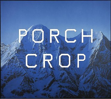 Ed Ruscha, Porch Crop, 2001 Acrylic on canvas, 64 ⅛ × 72 ⅛ inches (162.6 × 183.2 cm)