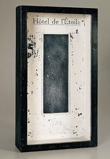 Joseph Cornell, Hotel de L'Etoile, 1950 Wood, glass, oil and paper box construction, 22 ½ × 12 ¾ × 7 inches (57.2 × 32.4 × 17.8 cm)