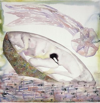 Francesco Clemente, Silence, 2001–02 Watercolor on paper, 44 ¾ × 44 ¼ inches (113.7 × 112.4 cm)