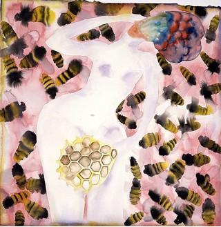 Francesco Clemente, Pleasure and Pain, 2001–02 Watercolor on paper, 45 ½ × 44 ¾ inches (115.6 × 113.7 cm)