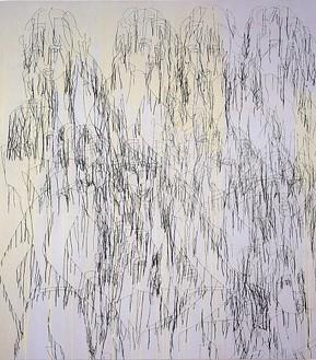Ghada Amer, Grey/Iman, 2001 Acrylic, embroidery and gel medium on canvas, 72 × 64 inches (182.9 × 162.6 cm)