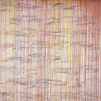 Ghada Amer, Anjie, 2002 Acrylic and gel medium on canvas, 88 × 88 inches (223.5 × 223.5 cm)
