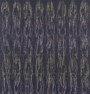 Ghada Amer, Diane Black Degrade, 2002 Acrylic and gel medium on canvas, 52 × 50 inches (132.1 × 127 cm)
