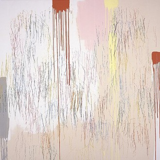 Ghada Amer, Drips with Big Figures, 2001 Acrylic embroidery and gel medium on canvas, 88 × 88 inches (223.5 × 223.5 cm)