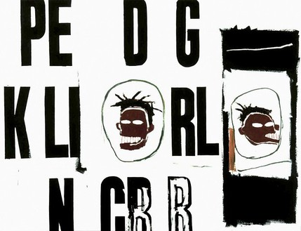 Andy Warhol & Jean-Michel Basquiat, PE D G Two Heads, c. 1984–85 Synthetic polymer paint and silkscreen ink on canvas, 76 × 98 inches (193 × 248.9 cm)