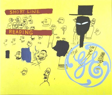 Andy Warhol & Jean-Michel Basquiat, GE Short Line & Reading, c. 1984–85 Synthetic polymer paint and silkscreen ink on canvas, 76 × 88 inches (193 × 223.5 cm)