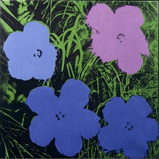 Andy Warhol, Flowers, 1964 Synthetic polymer paint and silkscreen ink on canvas, 24 × 24 inches (61 × 61 cm)
