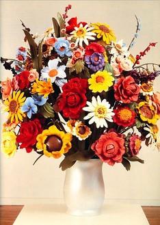 Jeff Koons, Large Vase of Flowers, 1991 Polychromed wood, 52 × 43 × 43 inches (132.1 × 109.2 × 109.2 cm)
