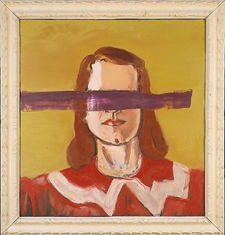Julian Schnabel, Untitled (Girl with no eyes), 2001 Oil and wax on canvas in artist's frame, 108 × 102 inches (274.3 × 259.1 cm)
