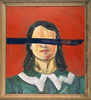 Julian Schnabel, Untitled (Girl with no eyes), 2001 Oil and wax on canvas in artist's frame, 122 × 110 ½ inches (309.9 × 280.7 cm)