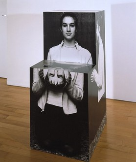 Richard Artschwager, Herodias/Hostess, 2001 Acrylic, paper, wood, 48 × 22 ¼ × 27 ¾ inches (121.9 × 56.5 × 70.5 cm)