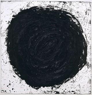 Richard Serra, Gravity, 2001 Paintstick on handmade paper, 50 ½ × 50 inches (128.3 × 127 cm)Photo: Robert McKeever