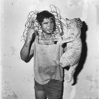 Roger Ballen, Cat Catcher, 1998 Selenium toned gelatin silver print, 15 × 15 inches (38.1 × 38.1 cm), edition of 35