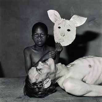 Roger Ballen, Tommy, Samson and a mask, 2000 Selenium toned gelatin silver print, 15 × 15 inches (38.1 × 38.1 cm) or 28 × 28 inches (71.1 × 71.1 cm), edition of 20