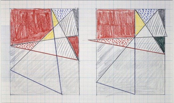 Roy Lichtenstein, Two Studies for Imperfect Painting, 1987 Colored pencil on graph paper, 8 ½ × 11 inches (21.6 × 27.9 cm)© Estate of Roy Lichtenstein