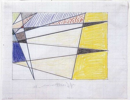 Roy Lichtenstein, Drawing for Perfect Painting, 1986 Graphite and colored pencils on graph paper, 8 ½ × 11 inches (21.6 × 27.9 cm)© Estate of Roy Lichtenstein
