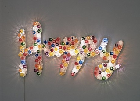 Tim Noble & Sue Webster, Happy, 1996 Mixed media, 42 × 74 × 4 inches (106.7 × 188 × 10.2 cm), edition of 3