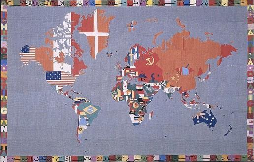 Alighiero E Boetti, Mappa, 1984 Embroidery, 44 ¼ × 69 ¾ inches (112.4 × 177.x cm)