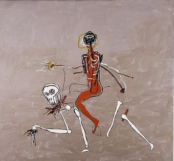 Jean-Michel Basquiat, Riding With Death, 1988 Acrylic and oil paintstick on linen, 98 × 114 inches (248.9 × 289.6 cm)Collection The Hermes Trust, Courtesy Francesco Pellizzi