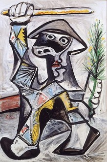Pablo Picasso, Arlequin au Baton, 1969 Oil on canvas, 75 ½ × 50 ½ inches (191.8 × 128.3 cm). The Eli and Edythe L. Broad Collection, Los Angeles