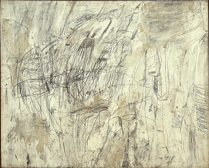 Cy Twombly, Untitled (New York City), 1954 Oil-based house paint, wax crayon and lead pencil on canvas, 68 ¾ × 86 inches (174.5 × 218.5 cm). The Menil Collection, Houston