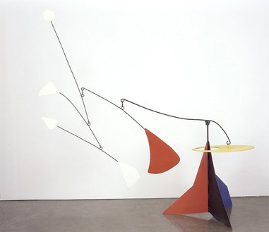 Alexander Calder, Yellow Disk, 1953 Standing mobile: painted steel with mobile and stable elements, Mobile height: 114 inches (290 cm); Mobile span: 112 inches (285 cm); Base: 46 × 38 inches (117 × 96.5 cm)""