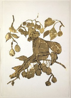 Andy Warhol, Elf (on Branch), c. 1957 Ink and gold leaf on paper, 23 × 16 inches (58.4 × 40.6 cm)