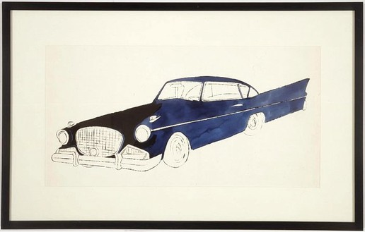 Andy Warhol, Untitled (Car (blue)), 1961 Ink and ink wash on paper, 14 ⅛ × 23 inches (35.9 × 58.4 cm)