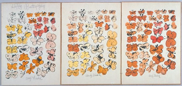 Andy Warhol, Happy Butterfly Day, c. 1956 Three offset lithographs with hand-coloring, 13 ⅝ × 9 ¾ inches each (34.6 × 24.8 cm)