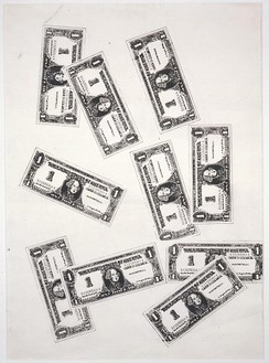 Andy Warhol, Ten One Dollar Bills, 1962 Ink stencil on paper, 34 × 24 inches (86.4 × 61 cm)