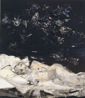 Cecily Brown, Black Painting 2, 2002 Oil on linen, 90 × 78 inches (228.6 × 198.1 cm)