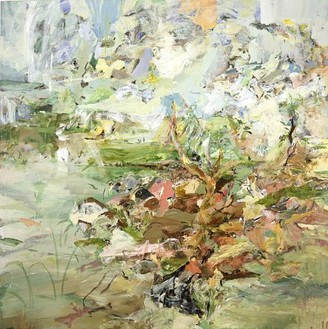 Cecily Brown, Still Life in a Landscape, 2002 Oil on linen, 80 × 80 inches (203.2 × 203.2 cm)