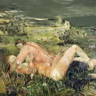 Cecily Brown, Two Figures in a Landscape, 2002 Oil on linen, 80 × 80 inches (203.2 × 203.2 cm)