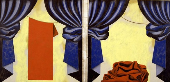 Francesco Clemente, Passion Play II, 2001 Oil on linen, Diptych: 104 × 104 inches each panel (264.2 × 264.2 cm)