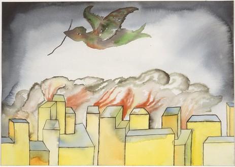 Francesco Clemente, Season, 2001 Watercolor on paper, 14 × 19 ⅞ inches (35.6 × 50.5 cm)