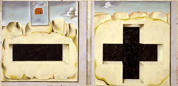 Francesco Clemente, Passion Play I, 2001 Oil on linen, Diptych: 104 × 104 inches each panel (264.2 × 264.2 cm)