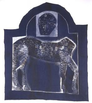 Francesco Clemente, Sacrificial Self Portrait, 2000 Mixed media on denim, 206 2/3 × 178 ¾ inches (524.9 × 454 cm)