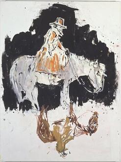 Georg Baselitz, Einer wacht in der Nacht, 2003 Oil on canvas, 65 2/5 × 48 inches (166 × 122 cm)