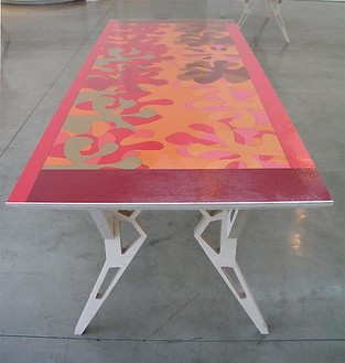 Jorge Pardo, Untitled, 2003 Inkjet on canvas on birch plywood, 33 ¼ × 90 × 34 inches (84.5 × 228.6 × 86.4 cm)