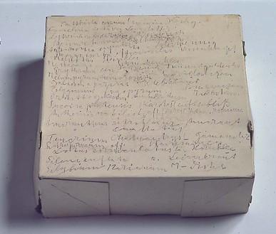Jospeh Beuys, Ohne Titel (Heilkrauterverzeichnis der im Garten des Kunstlers wachsende Pflanzen), 1974 Pencil on cardboard box, 13 ¼ × 13 ¼ × 5-11/12 inches (33.5 × 33.5 × 15 cm)
