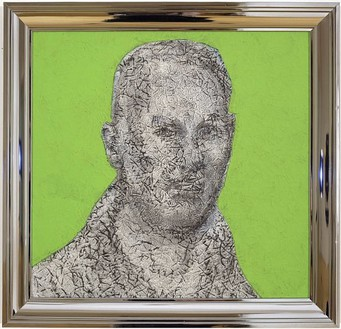Richard Artschwager, Self-Portrait, 2003 Acrylic, fiber panel on Celotex in artist's frame, 24 ⅛ × 25 ⅛ inches (61.3 × 63.8 cm)