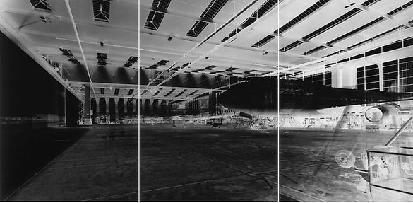 Vera Lutter, Frankfurt Airport, Hangar 5, XVI: May 12-15, 2001, 2001 Unique gelatin silver print, 3 panels: 82 ¾ × 167 ¼ inches overall (210.2 × 424.8 cm)