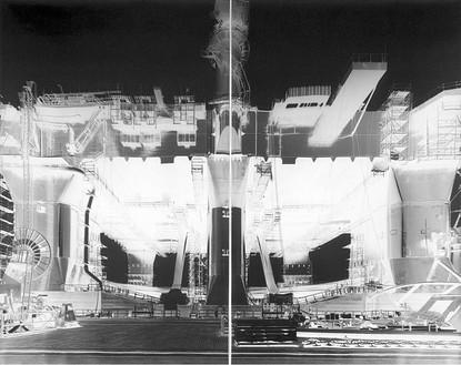 Vera Lutter, Kvaerner Shipyard, Rostock VII: December 2-3, 2000, 2000 Unique gelatin silver print, 2 panels: 80 × 112 inches overall (203.2 × 284.5 cm)