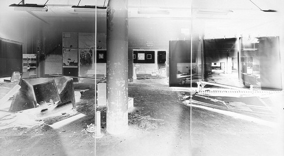 Vera Lutter, Pepsi Cola Interior, XVI: Steptember 21-October 2, 2001, 2001 Unique gelatin silver print, 3 panels: 95 ¼ × 168 ½ inches overall (241.9 × 428 cm)