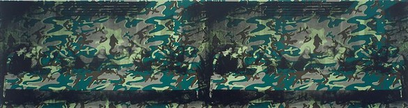 Andy Warhol, Camouflage Last Supper, 1986 Synthetic polymer paint and silkscreen ink on canvas, 80 ¾ × 305 ½ inches (205.1 × 776 cm)
