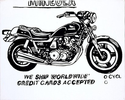 Andy Warhol, Mineola Motorcycle (pos), 1985–86 Synthetic polymer paint and silkscreen ink on canvas, 16 × 20 inches (40.6 × 50.8 cm)